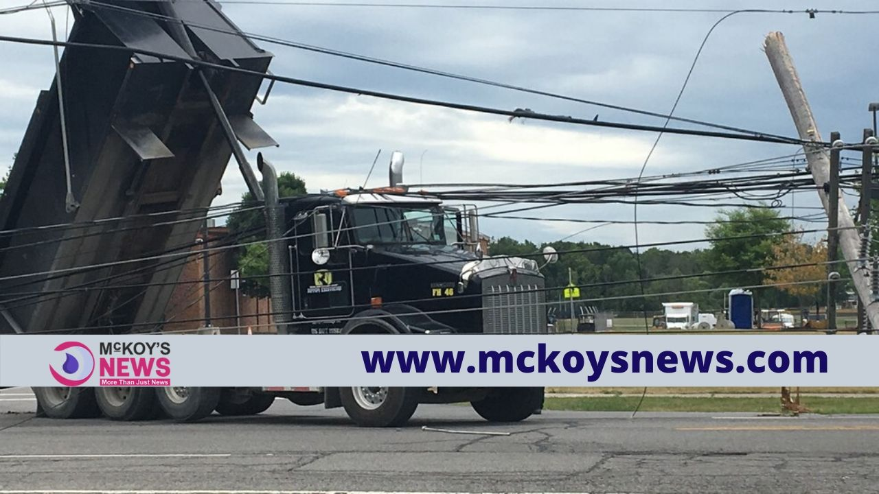 Utility Pole Brought Down by a Truck
